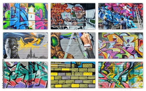 Deurstickers Graffiti collage graffiti...collage