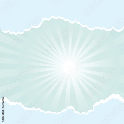 Poster Ciel sun rays and clouds