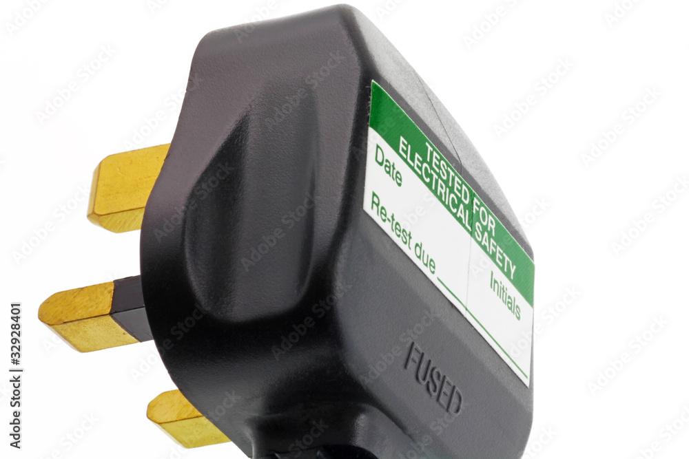 Fototapeta close up blank pat tested uk plug