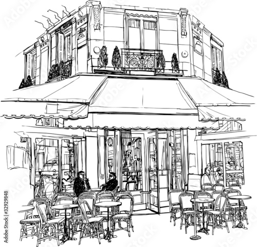 Keuken foto achterwand Drawn Street cafe old cafe in Paris