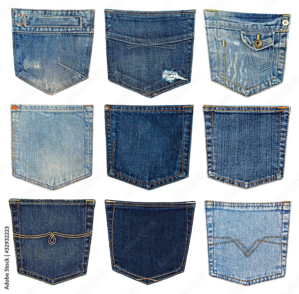 Fotografía collection of different jeans pocket isolated on white.