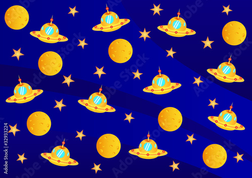 Garden Poster Cosmos ufo, planets and stars in the universe