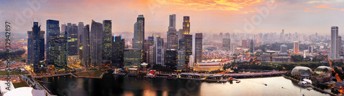 Singapore at sunset Wallpaper Mural