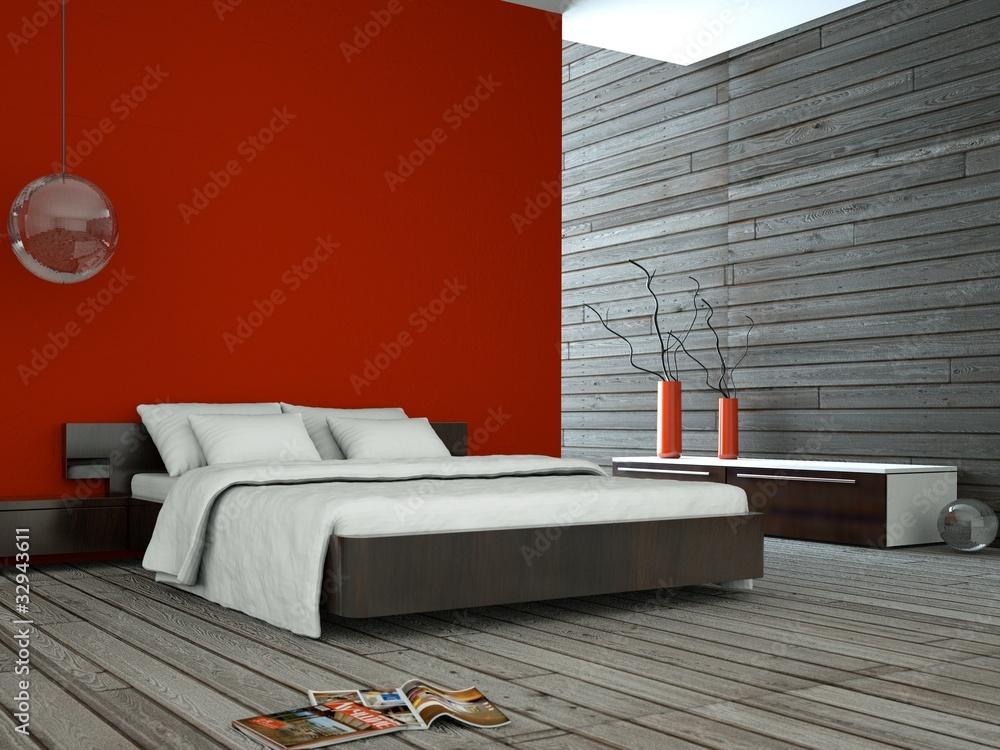 Wohndesign - rotes Schlafzimmer Foto, Poster, Wandbilder bei ...