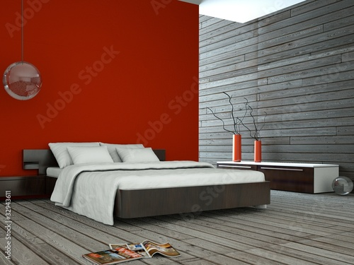 Fotografia  Wohndesign - rotes Schlafzimmer