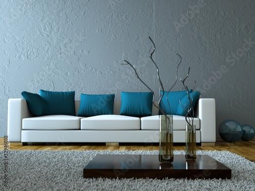 Fesselnd Modernes Wohnzimmer Grau Blau