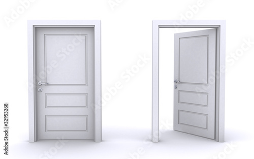 Photo  open and closed doors