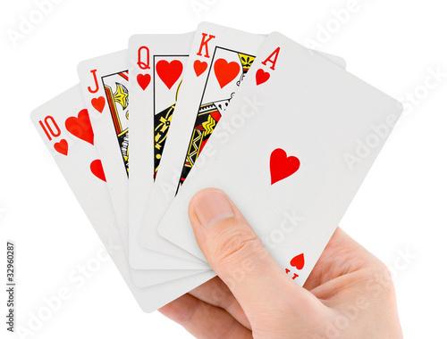 Fotografia  Gra w karty w ręku