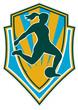 woman soccer player kicking ball shield