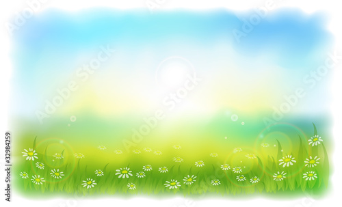 Foto op Aluminium Lichtblauw Sun-drenched meadow with daisies. Sunny summer day outdoors.
