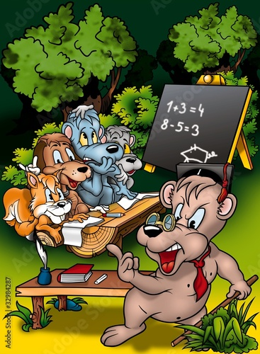 In de dag Bosdieren Animal Classroom - Cartoon Background Illustration