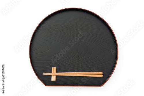 Fotografie, Obraz  お盆とお箸のアップ