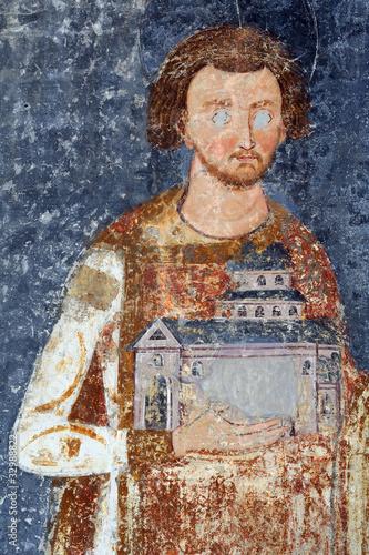 Fotografie, Obraz  King Stefan Vladislav, fresco painting from Monastery Mileseva S
