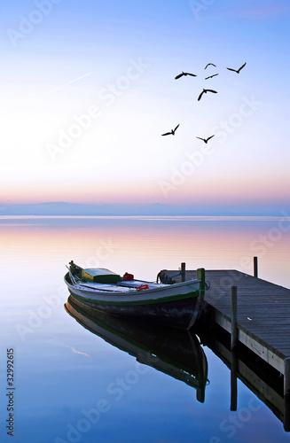 Papiers peints Jetee en el lago azul