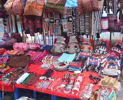 Vászonkép North Thailand hilltribe crafts sale at market.