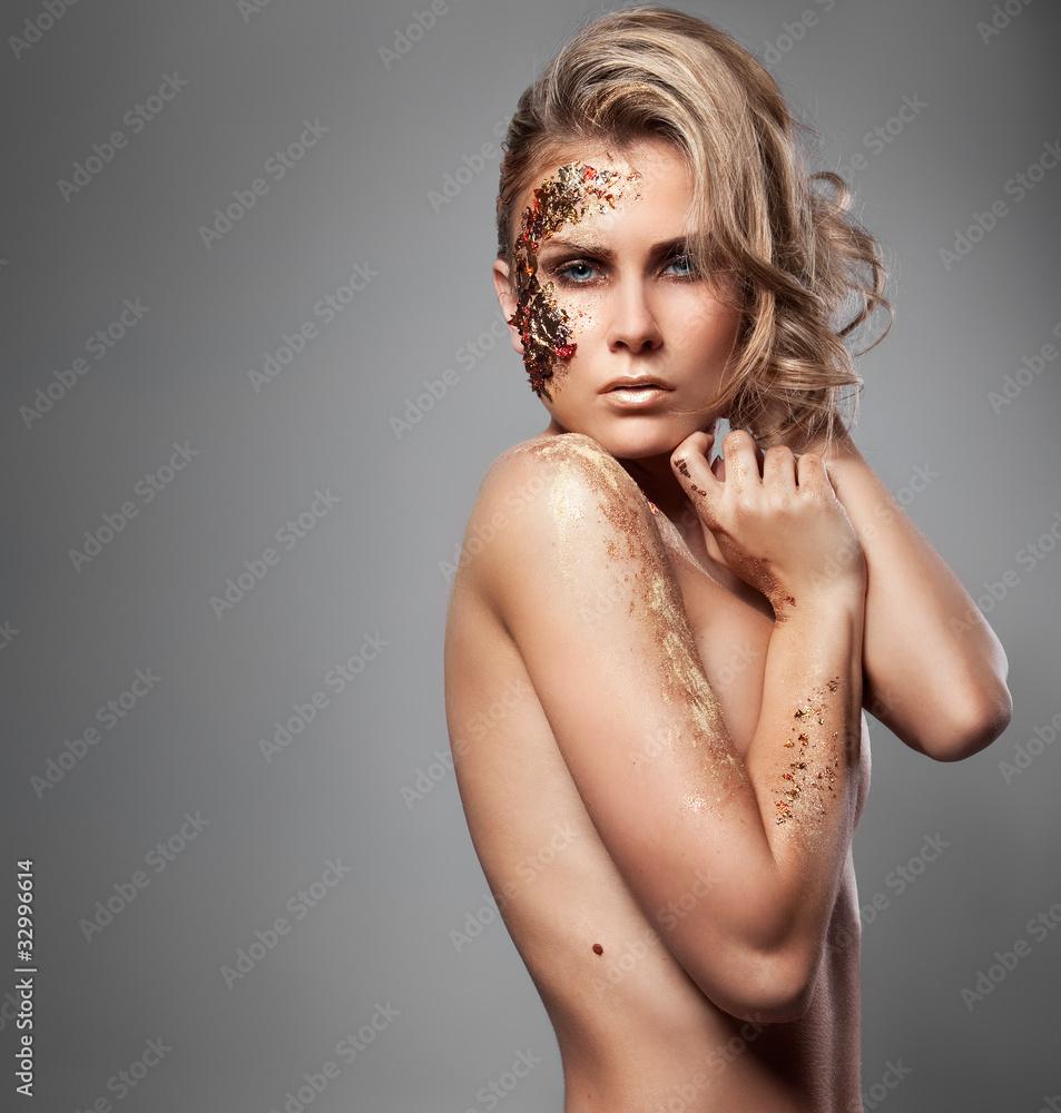 Fototapeta beautiful blonde with artistic make-up