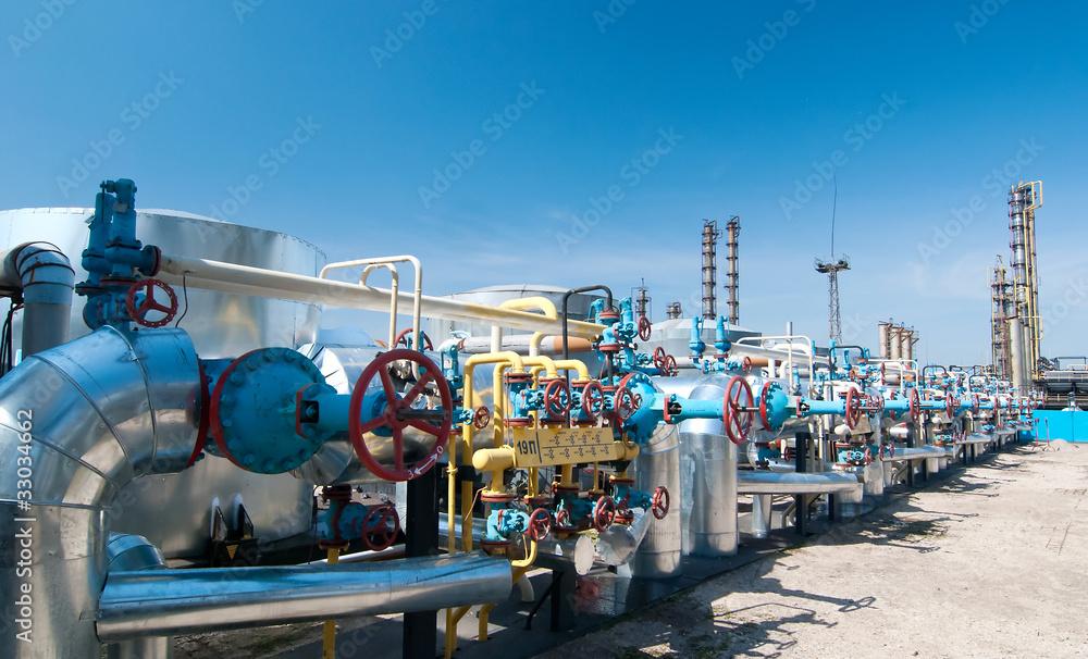 Fototapety, obrazy: Gas industry. row gas valves