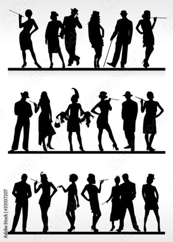 Silhouetten Kabarett Fototapete