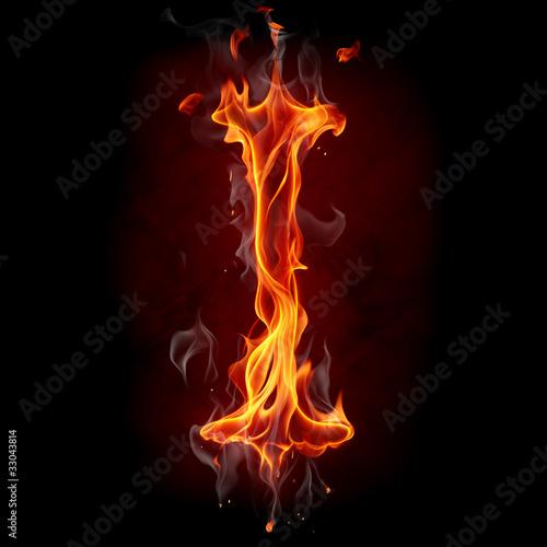 Poster Flamme Fire font. Letter I.