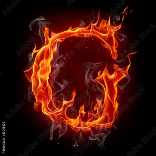 Poster Flamme Fire font. Letter G.