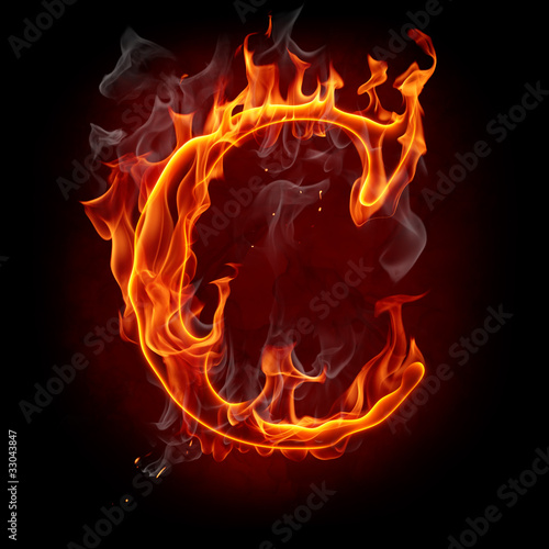 Poster Flamme Fire font. Letter C.