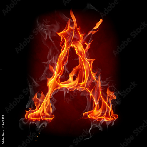 Recess Fitting Flame Fire font. Letter A.