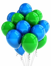 Green And Blue Party Balloons Over White Background