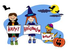 Kids And Dog Halloween Card