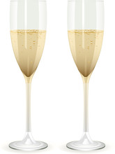 Two Champagne Filled Glass Flutes
