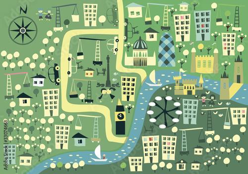 Poster de jardin Route cartoon London map