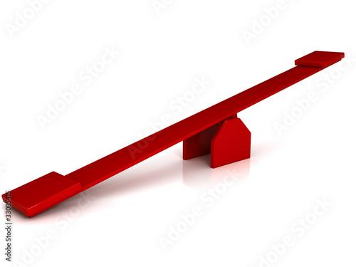 Fotografia, Obraz  Red swing over white background