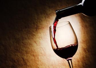 Fototapeta Red Wine glass and Bottle