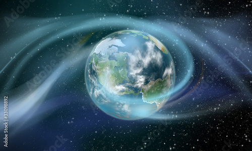 Wireless Energy around the Earth Wallpaper Mural
