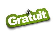 Mot Gratuit Autocollant Et Une Punaise Fond Blanc