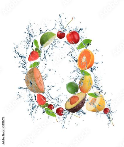 Poster Vruchten Fresh fruit alphabet letter