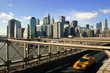 Downtown New York City, Brooklyn Bridge, and Yellow Taxi