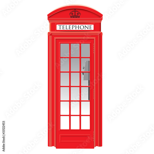 Red telephone box - London - vector Poster