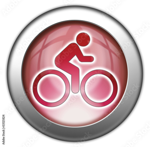 "Fotografie, Obraz  Red glossy 3D effect button ""Bicycle Symbol / Bicycle Trail"""