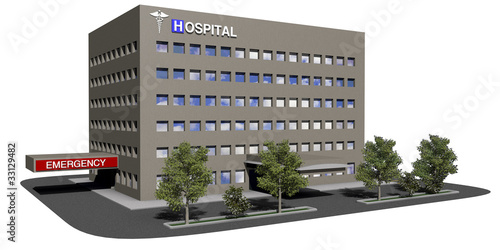 Fotografie, Obraz  Hospital building on a white background