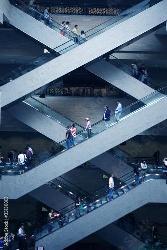escalator in super mall Canvas Print