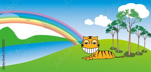 In de dag Regenboog Tiger resting in a sunny day, background
