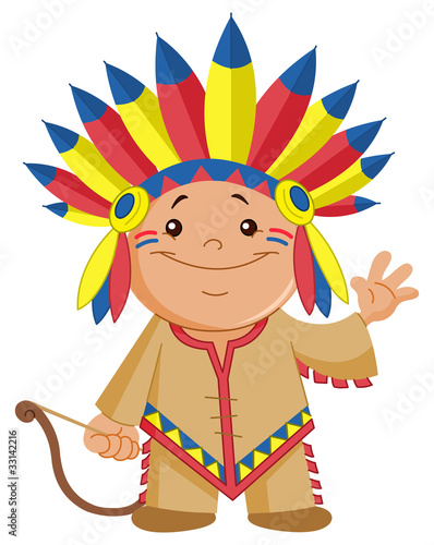 Stickers pour portes Indiens Indian kid