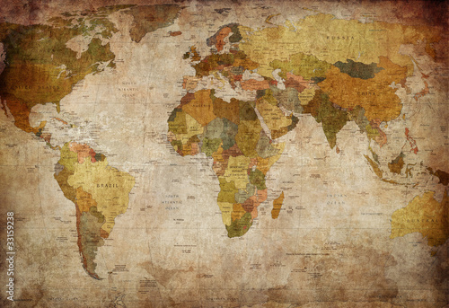 Spoed Foto op Canvas Wereldkaart World Map