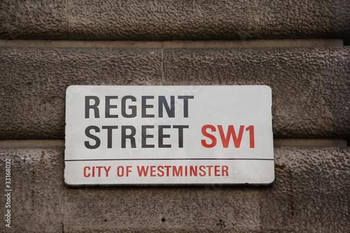 Photo  Regent street road sign city of Westminster