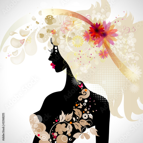 Floral femme abstract decorative composition with girl