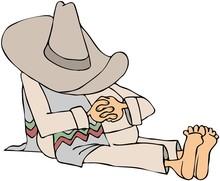 Man Wearing A Sombrero Taking A Siesta