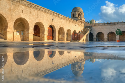 Printed kitchen splashbacks Tunisia Great Mosque in Sousse and its pool reflection