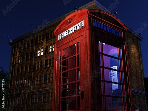 Fotografie, Tablou  Night Telephone Box