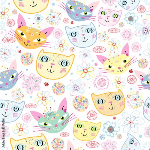 Printed kitchen splashbacks Cats pattern of portraits of cats