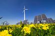 canvas print picture - Windrad und Solarzellen
